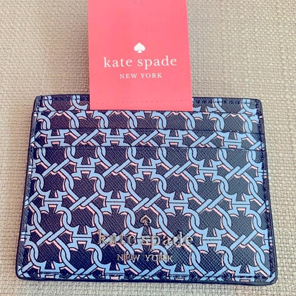 Kate Spade Small Slim Card Holder Spade Link Blue